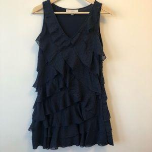 ANN TAYLOR LOFT petites navy ruffle dress